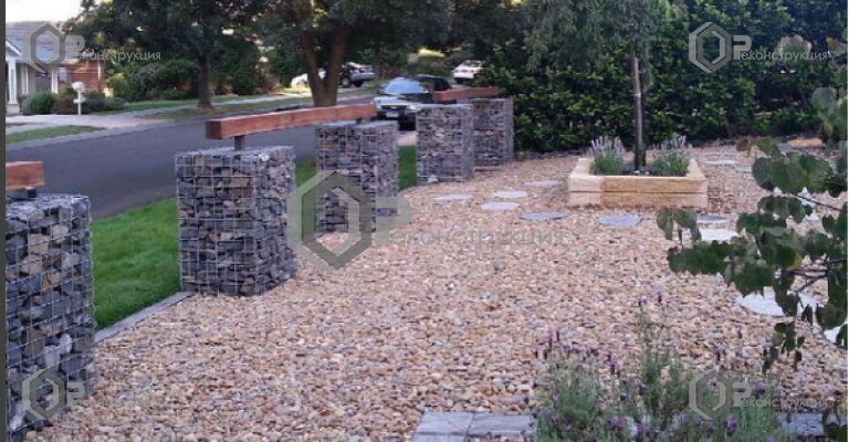 steinborn61: Front #yard finally finished with #gabions #redironbark #pebbles and #weepingcherry